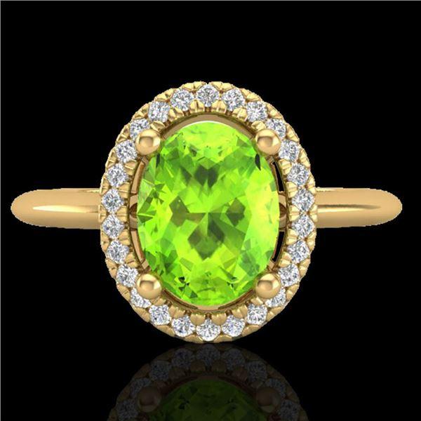 1.75 ctw Peridot & Micro VS/SI Diamond Ring Halo 18k Yellow Gold - REF-39M8G