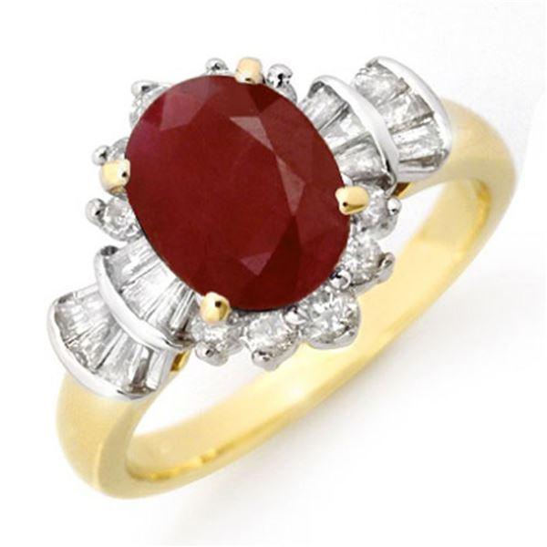 2.22 ctw Ruby & Diamond Ring 14k Yellow Gold - REF-80Y2X