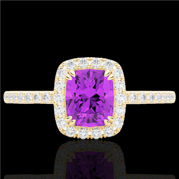 1.25 ctw Amethyst & Micro Pave VS/SI Diamond Certified Ring 10k Yellow Gold - REF-25H9R