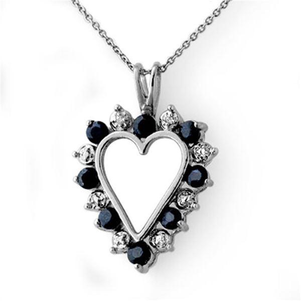 1.10 ctw Blue Sapphire & Diamond Pendant 18k White Gold - REF-31F5M