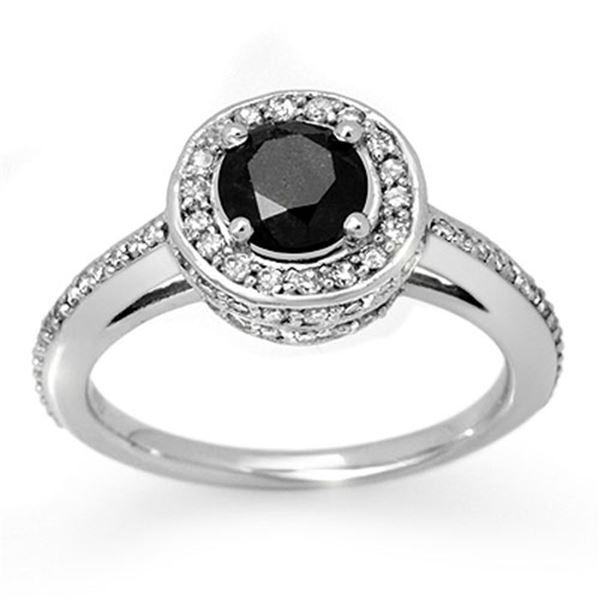 1.75 ctw VS Certified Black & White Diamond Ring 14k White Gold - REF-100Y2X