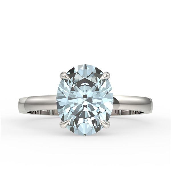 2.50 ctw Aquamarine Designer Ring 18k White Gold - REF-40X2A