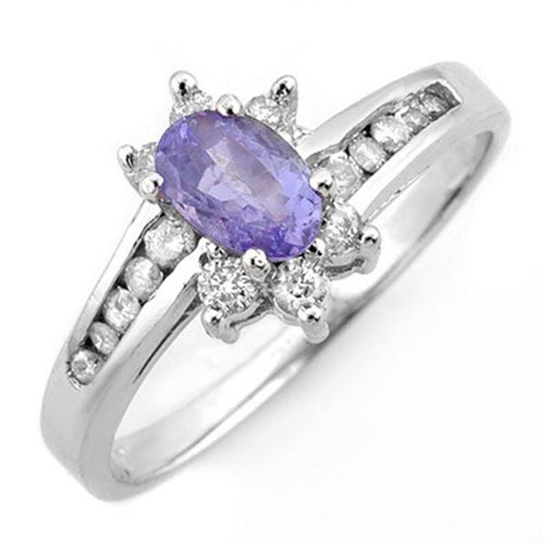 1.08 ctw Tanzanite & Diamond Ring 18k White Gold - REF-35F3M