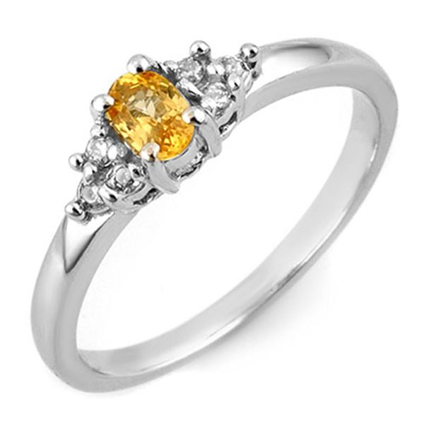 0.44 ctw Yellow Sapphire & Diamond Ring 18k White Gold - REF-25F2M