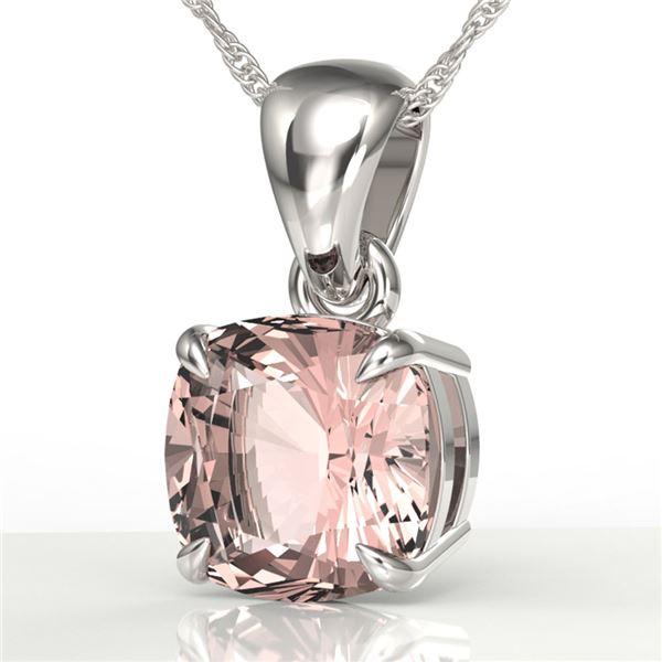 1.50 ctw Cushion Cut Morganite Designer Necklace 18k White Gold - REF-34G3W