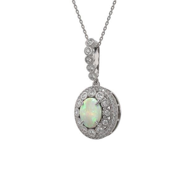 3.9 ctw Certified Opal & Diamond Victorian Necklace 14K White Gold - REF-139G8W