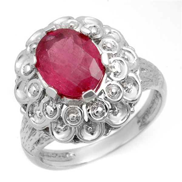 2.25 ctw Ruby Ring 10k White Gold - REF-22W4H