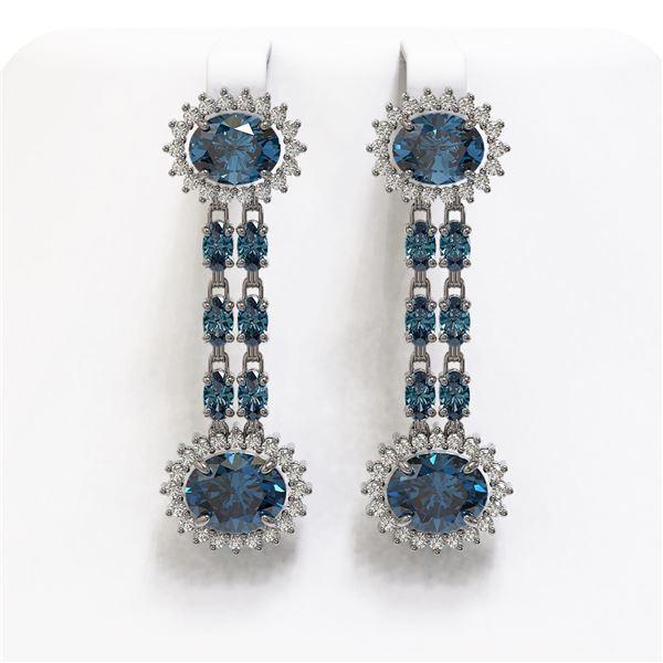 12.82 ctw London Topaz & Diamond Earrings 14K White Gold - REF-180H2R