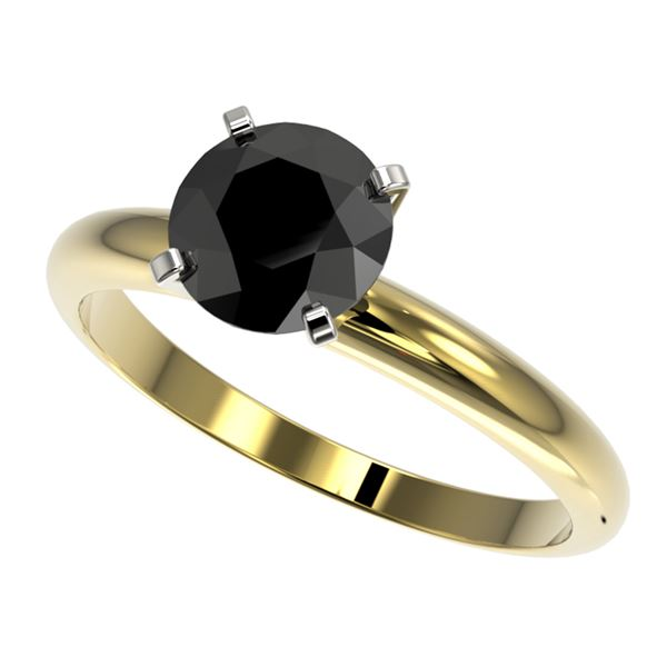 1.50 ctw Fancy Black Diamond Solitaire Engagment Ring 10k Yellow Gold - REF-39M3G