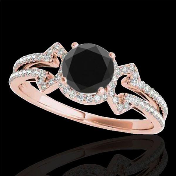 1.36 ctw Certified VS Black Diamond Solitaire Ring 10k Rose Gold - REF-50F3M