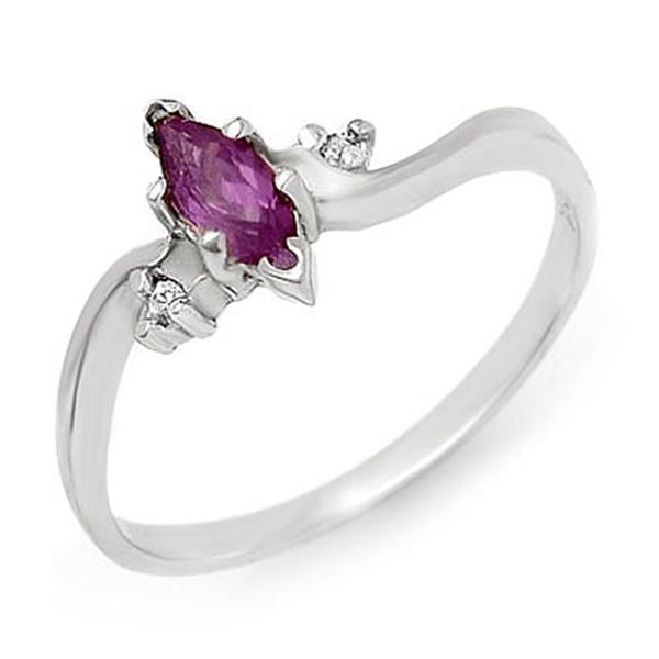 0.29 ctw Amethyst & Diamond Ring 14k White Gold - REF-11W6H