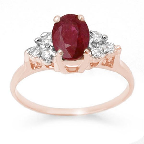 1.35 ctw Ruby & Diamond Ring 14k Rose Gold - REF-19Y8X