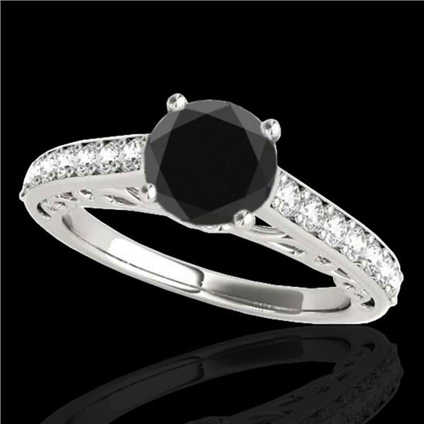 1.65 ctw Certified VS Black Diamond Solitaire Ring 10k White Gold - REF-47A5N