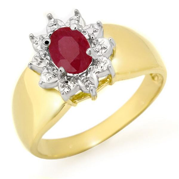 0.50 ctw Ruby Ring 10k Yellow Gold - REF-12W3H