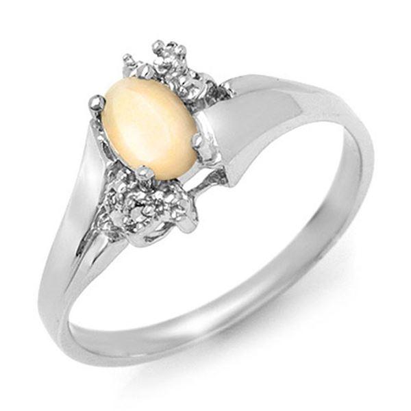 0.35 ctw Opal & Diamond Ring 10k White Gold - REF-11H9R
