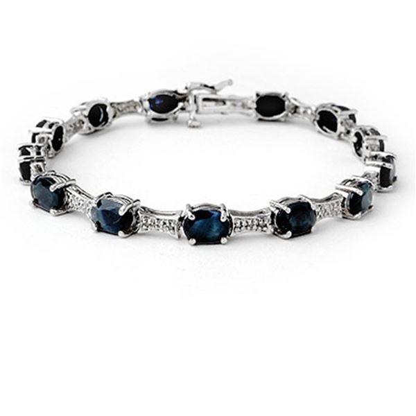 11.39 ctw Blue Sapphire & Diamond Bracelet 10k White Gold - REF-125A5N