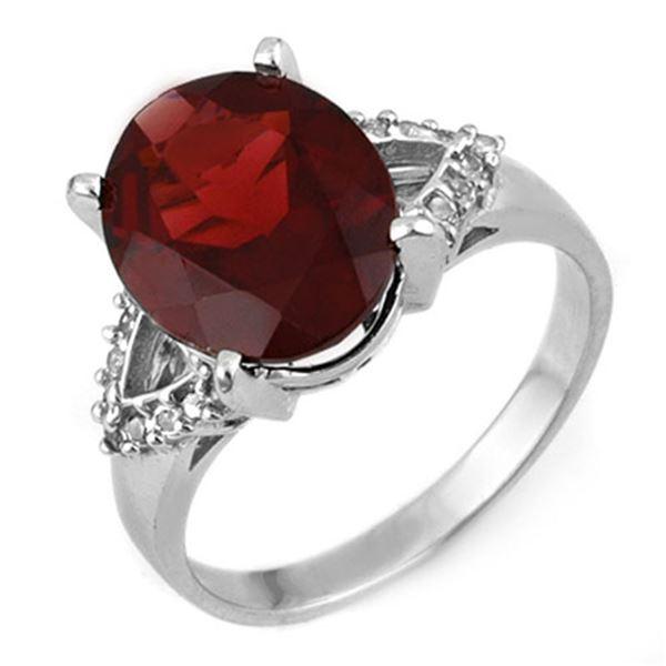 6.20 ctw Garnet & Diamond Ring 10k White Gold - REF-30M2G