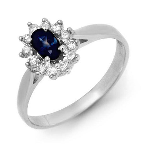 0.51 ctw Blue Sapphire & Diamond Ring 18k White Gold - REF-24W3H