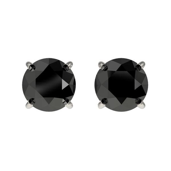 1.05 ctw Fancy Black Diamond Solitaire Stud Earrings 10k White Gold - REF-21X2A