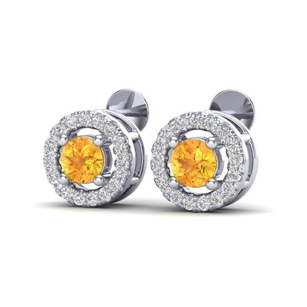 0.75 ctw Citrine & Micro Pave VS/SI Diamond Earrings Halo 18k White Gold - REF-34W3H
