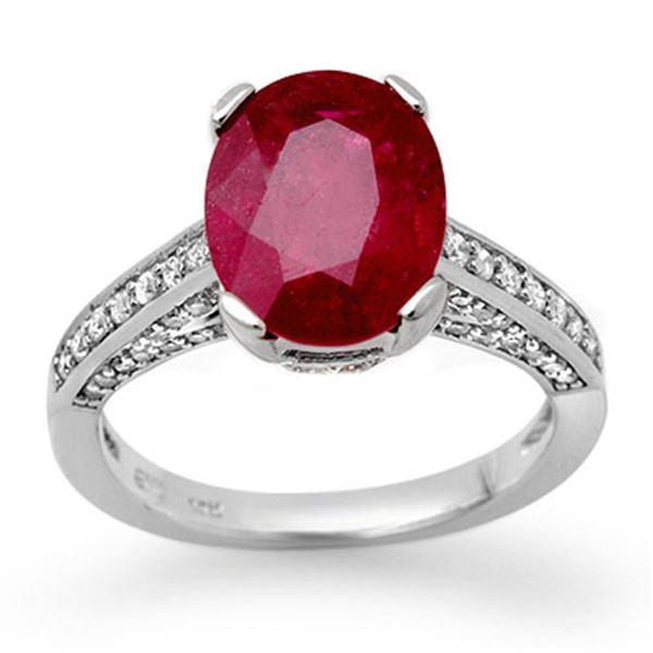 2.80 ctw Ruby & Diamond Ring 18k White Gold - REF-94A5N