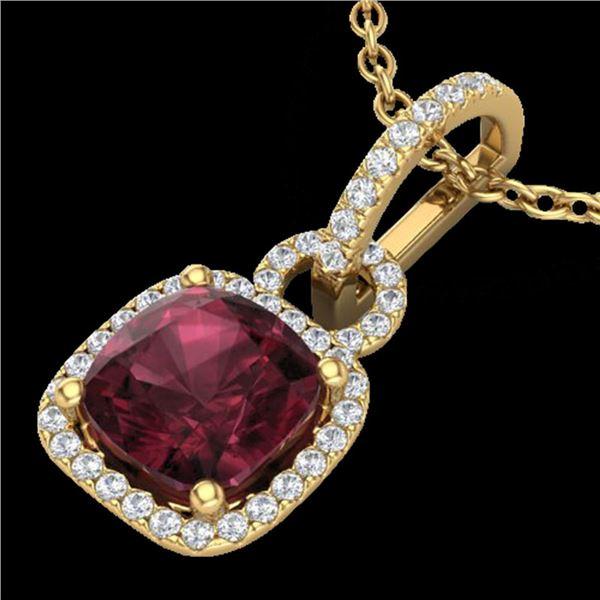 3.50 ctw Garnet & Micro VS/SI Diamond Necklace 18k Yellow Gold - REF-49R2K