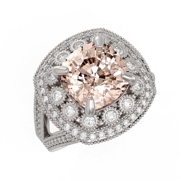 5.82 ctw Certified Morganite & Diamond Victorian Ring 14K White Gold - REF-212N4F