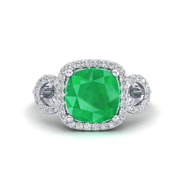 3.15 ctw Emerald & Micro VS/SI Diamond Certified Ring 18k White Gold - REF-55H2R