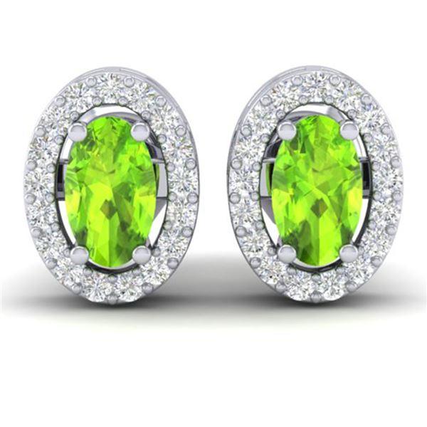0.75 ctw Peridot & Micro Pave VS/SI Diamond Earrings 18k White Gold - REF-25X9A