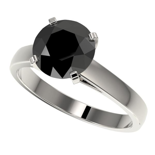 2.59 ctw Fancy Black Diamond Solitaire Engagment Ring 10k White Gold - REF-45H4R