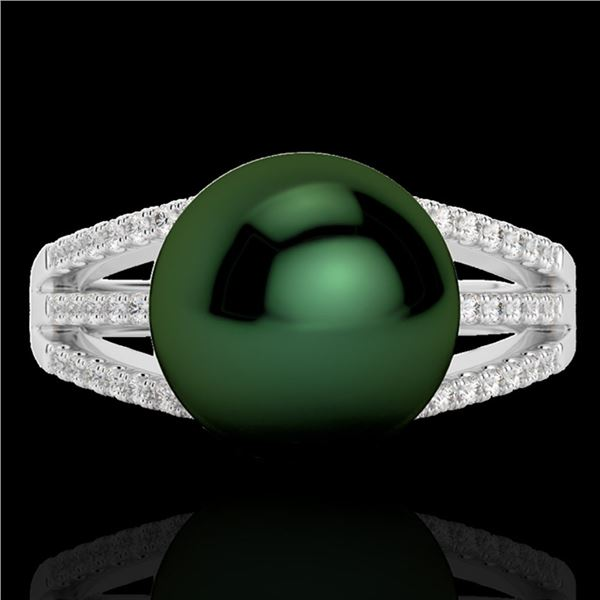 0.30 ctw Micro Pave VS/SI Diamond & Peacock Pearl Ring 18k White Gold - REF-39Y3X