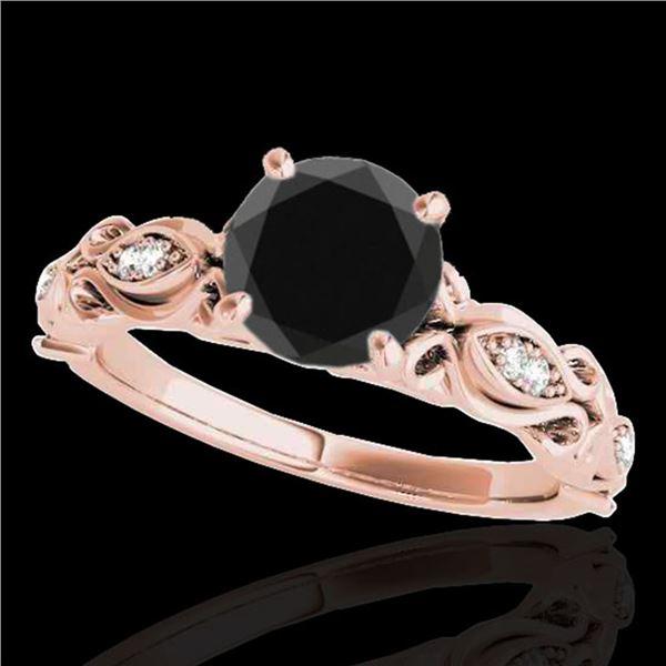 1.1 ctw Certified VS Black Diamond Solitaire Antique Ring 10k Rose Gold - REF-43K6Y