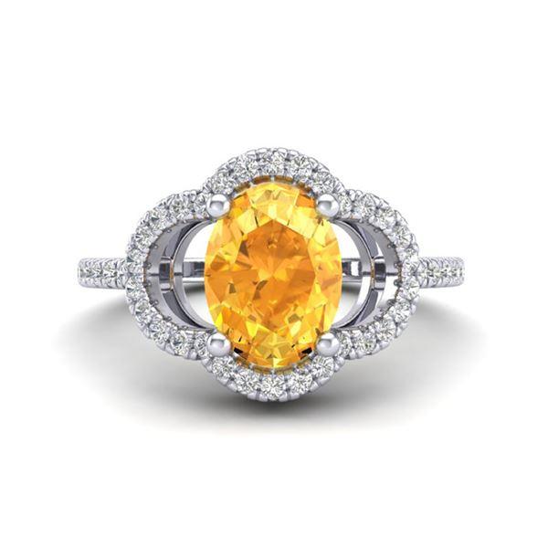 1.75 ctw Citrine & Micro Pave VS/SI Diamond Certified Ring 10k White Gold - REF-30R8K