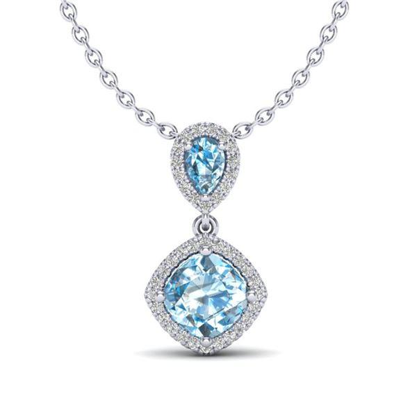 3.50 ctw Sky Blue Topaz & Micro VS/SI Diamond Necklace 10k White Gold - REF-33X8A
