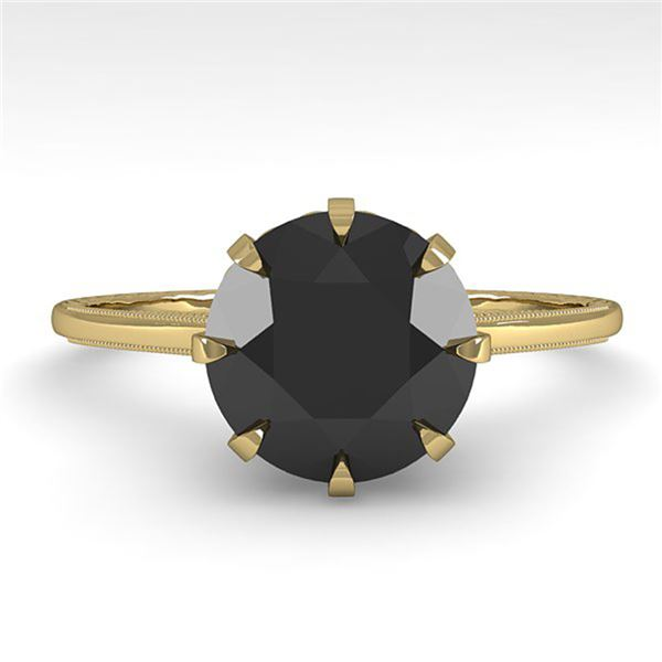 2.0 ctw Black Diamond Solitaire Vintage Ring 14k Yellow Gold - REF-50X4A