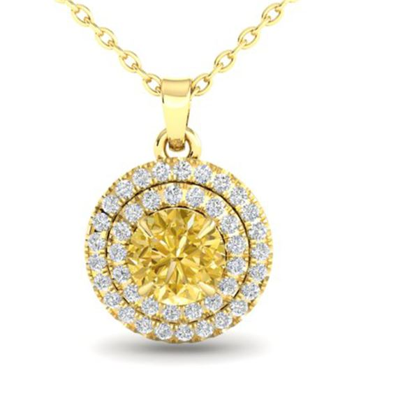1 ctw Citrine & Micro VS/SI Diamond NECKALCE Halo 18k Yellow Gold - REF-41W8H