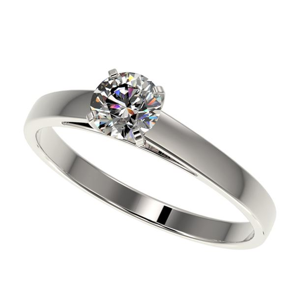 0.55 ctw Certified Quality Diamond Engagment Ring 10k White Gold - REF-37R6K