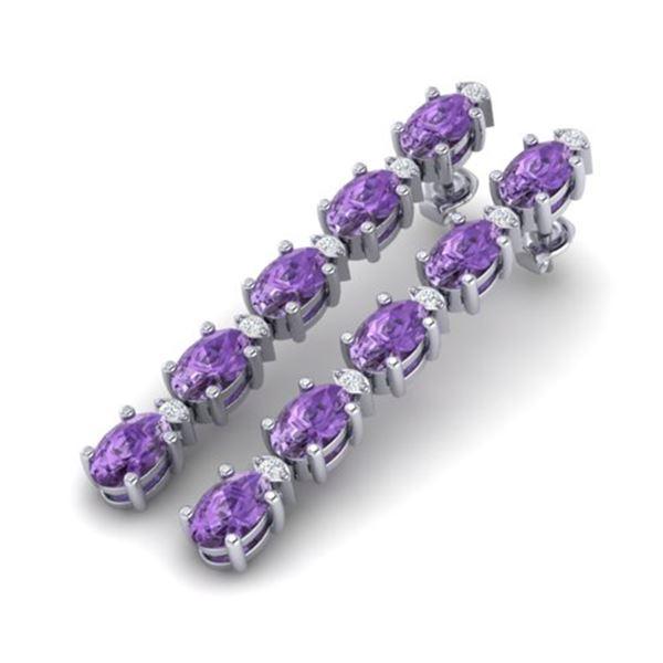 10.36 ctw Amethyst & VS/SI Certified Diamond Tennis Earrings 10k White Gold - REF-45N3F