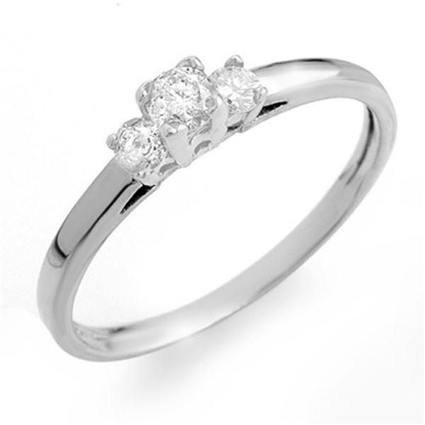 0.33 ctw Certified VS/SI Diamond 3-Stone Ring 14k White Gold - REF-38G8W