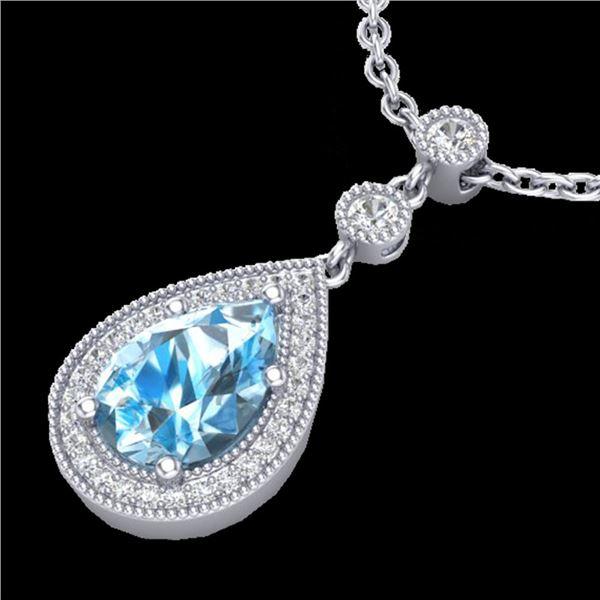 2.25 ctw Sky Blue Topaz & Micro Pave Diamond Necklace 18k White Gold - REF-37F3M