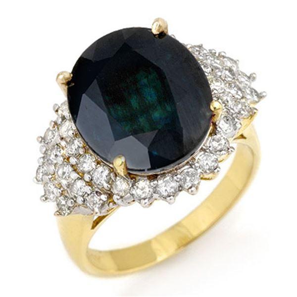 9.88 ctw Blue Sapphire & Diamond Ring 14k Yellow Gold - REF-145Y5X
