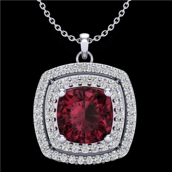 2.27 ctw Garnet & Micro Pave VS/SI Diamond Necklace 18k White Gold - REF-49H2R