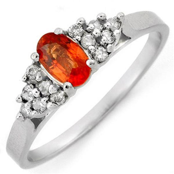 0.74 ctw Orange Sapphire & Diamond Ring 14k White Gold - REF-20H8R