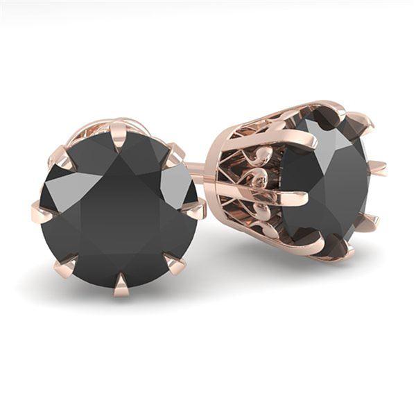 3.0 ctw Black Diamond Stud Solitaire Earrings Vintage 18k Rose Gold - REF-117X2A