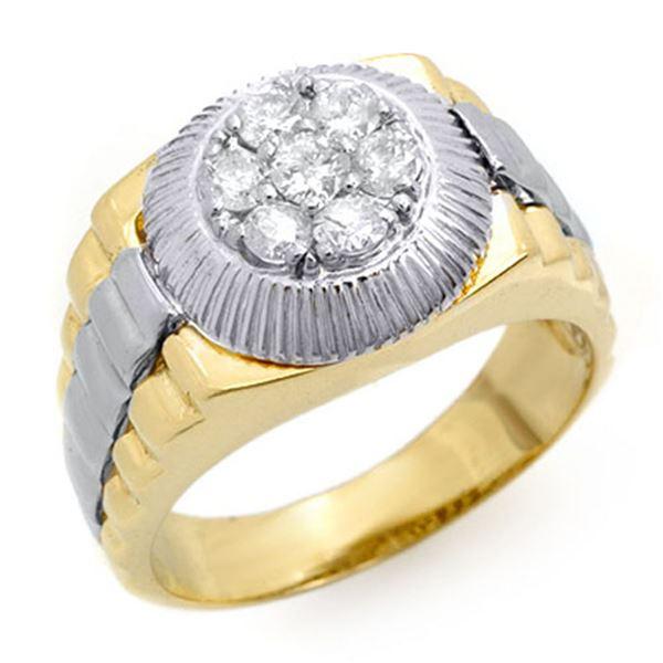 0.75 ctw Certified VS/SI Diamond Men's Ring 2-Tone 18k 2-Tone Gold - REF-138X4A
