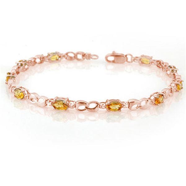 3.51 ctw Yellow Sapphire & Diamond Bracelet 14k Rose Gold - REF-38K3Y