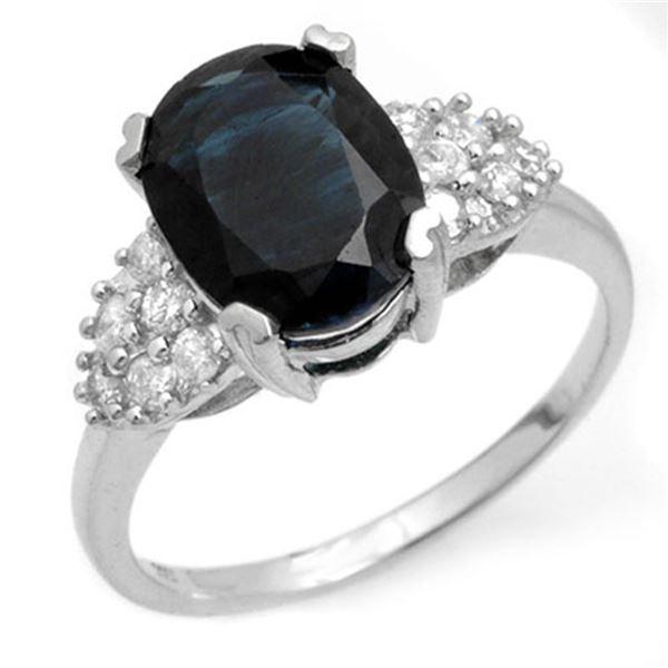 3.80 ctw Blue Sapphire & Diamond Ring 10k White Gold - REF-27N4F