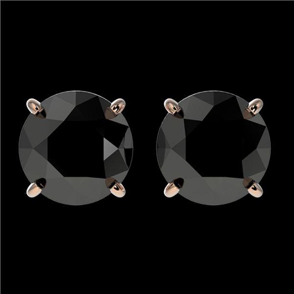 2.09 ctw Fancy Black Diamond Solitaire Stud Earrings 10k Rose Gold - REF-35K6Y