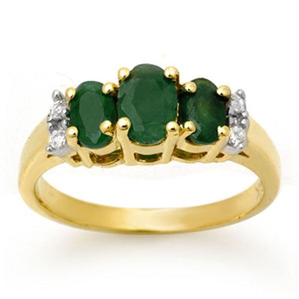 1.08 ctw Emerald & Diamond Ring 14k Yellow Gold - REF-22M2G