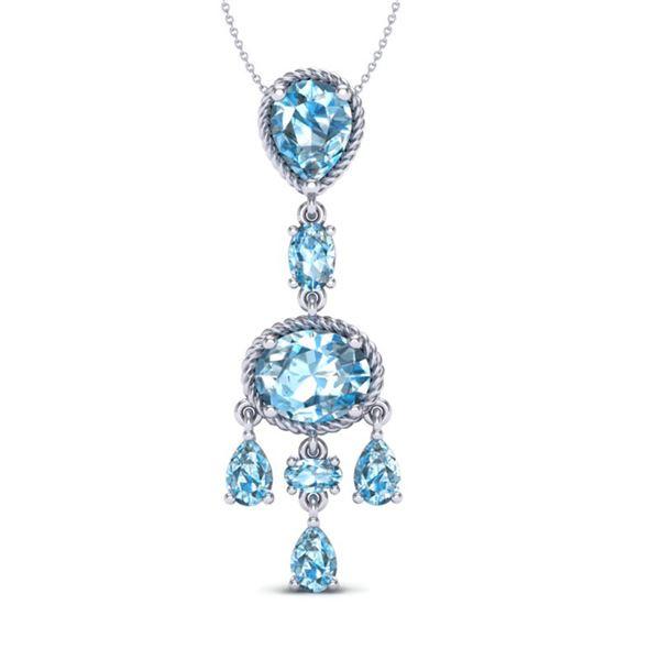 8 ctw Sky Blue Topaz Necklace Designer Vintage 10k White Gold - REF-25X8A
